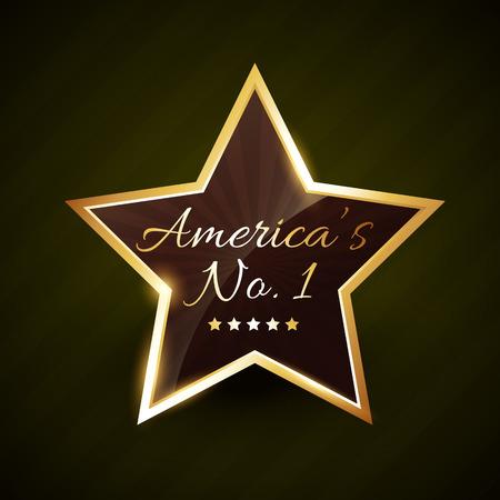 no1: america number one no.1 vector label golden design Illustration