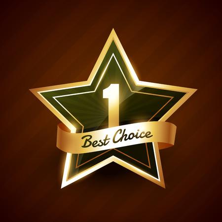 第 1 最高黄金ラベル バッジ デザイン  イラスト・ベクター素材