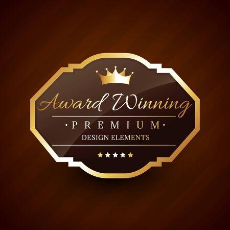 award winning: golden award winning premium beautiful vector label design