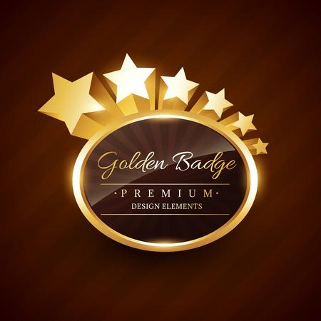 gouden badge premium label met sterren vloeiende vector design