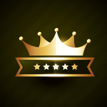 golden crown: golden crown badge design with five stars