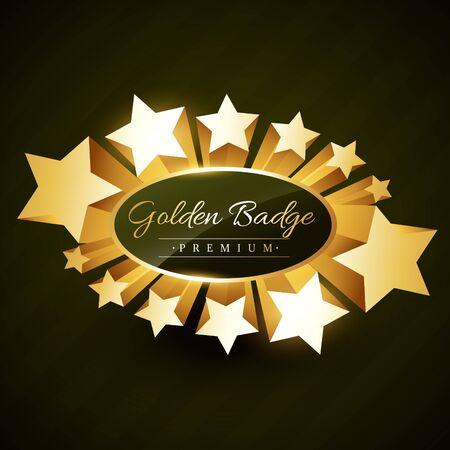 golden star: beautiful golden star burst label badge