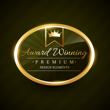 awards: beautiful award winner golden label badge design illustration Illustration