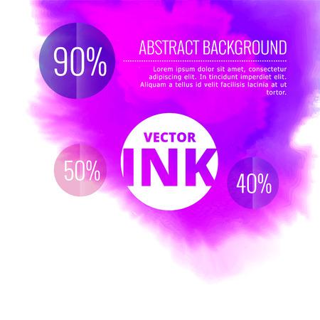 ベクトル水インクしぶきの紫の色の設計図にバースト