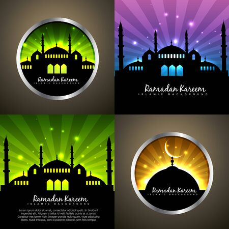 mohammad: vector attractive set of ramadan kareem background festival of muslim with mosque illustration