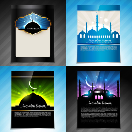 quran: vector set of ramadan kareem festival of muslim brochure  and template design Illustration