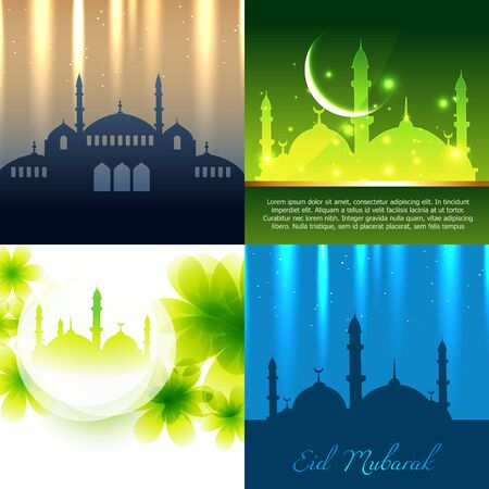 mosque illustration: vector set of attractive background of ramadan kareem festival with mosque illustration Illustration