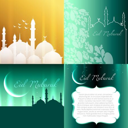 mosque illustration: vector attractive set of eid  background festival of muslim with mosque illustration Illustration