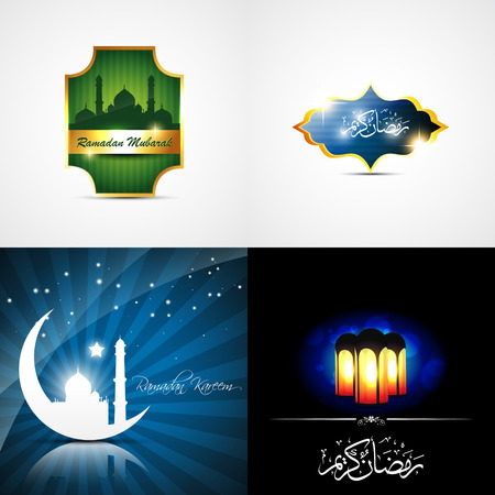 mosque illustration: vector attractive set of ramadan kareem background with beautiful lamp and mosque illustration Illustration