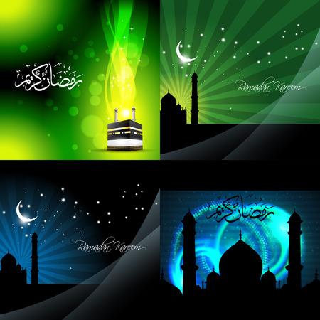 mosque illustration: vector set of beautiful background of ramadan kareem background with qaaba sharif and mosque illustration Illustration