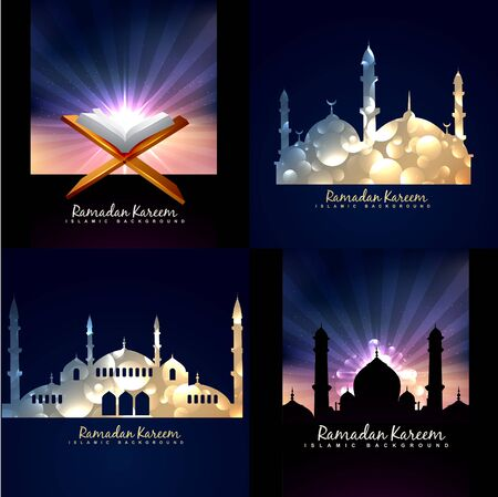 mosque illustration: vector collection of ramadan kareem background festival of muslim with mosque illustration