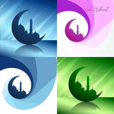 mosque illustration: vector creative set of ramadan festival background with mosque illustration Illustration