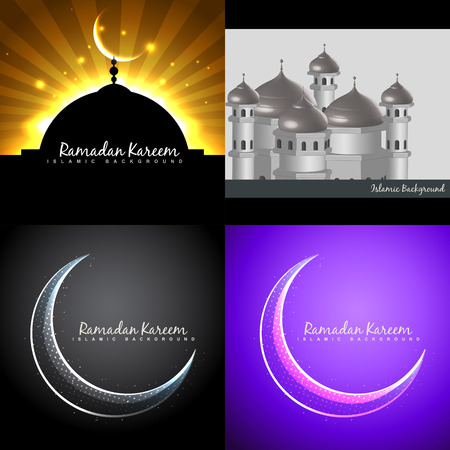 mohammad: vector attractive background set of ramadan kareem festival with mosque illustration