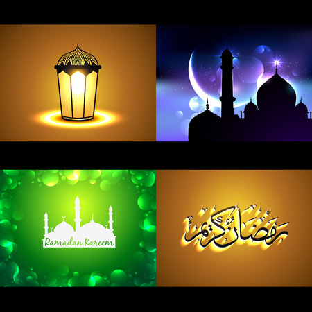 mosque illustration: vector set of attractive background of ramadan kareem festival with lamp and mosque illustration Illustration