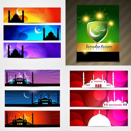 mohammad: vector set of attractive banner of ramadan festival illustration