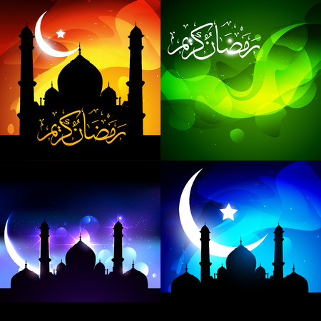 mosque illustration: vector beautiful set of ramadan kareem festival background with mosque illustration