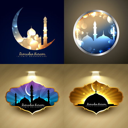 quran: vector set of attractive background of ramadan kareem festival with mosque illustration Illustration