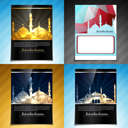 mosque illustration: vector set of attractive brochure design illustration of eid festival with mosque illustration Illustration
