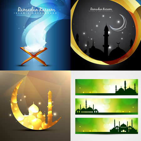 mohammad: vector set of attractive background of ramadan kareem with banner illustration