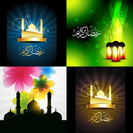 mosque illustration: vector beautiful set of ramadan kareem festival background with lamp and mosque illustration