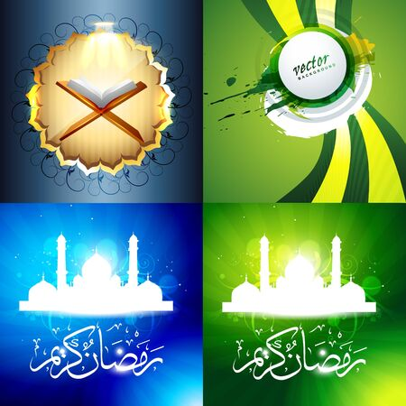 mosque illustration: vector set of attractive background of ramadan kareem festival with quaran sharif and mosque illustration
