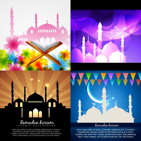 mohammad: vector attractive set of eid  background festival of muslim with mosque illustration Illustration