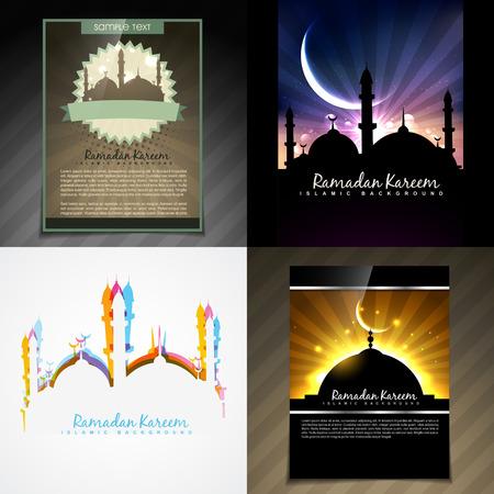 mohammad: vector set of attractive brochure of eid festival illustration Illustration