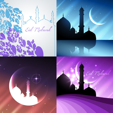 mosque illustration: vector attractive background set of ramadan kareem festival with mosque illustration
