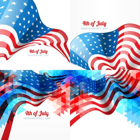 vector set of american independence day background with american flag with creative style Illustration