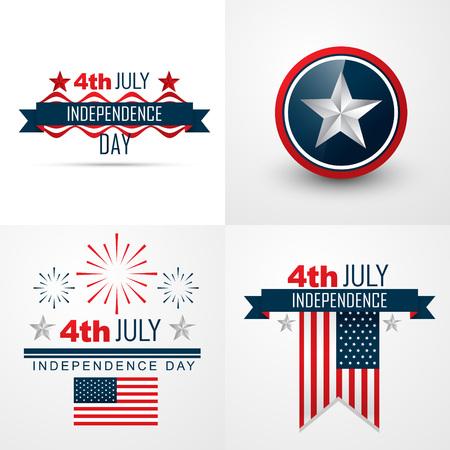 第 4 回 7 月アメリカ独立記念日の背景のベクトルを設定  イラスト・ベクター素材