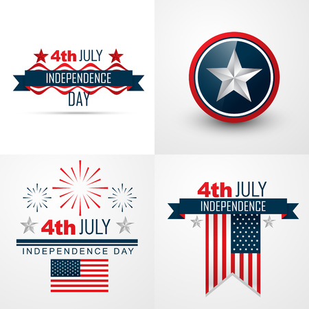 vector set of 4th july american independence day background