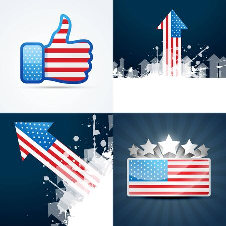 american flag: vector collection of american flag design of 4th july abstract background