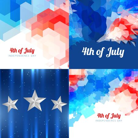 memorial day: vector collection 4th of july american independence day background with pattern design