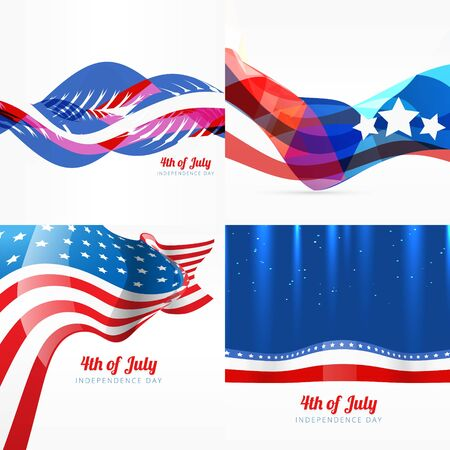 patriotic background: vector set of american independence day background illustration