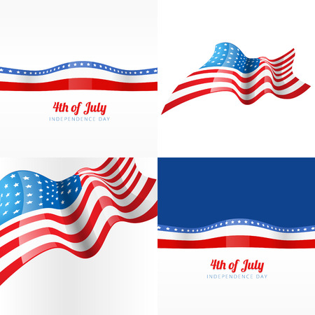 vector 4th july american independence day background with american flag Illustration