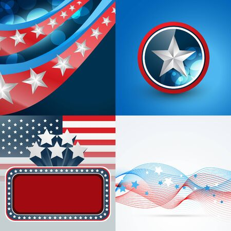 democratic: vector set of 4th july american independence day background with badge and wave effect