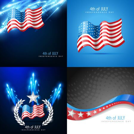 american flag fireworks: Vector creative set of american flag design background with fireworks Illustration