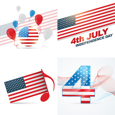 os: vector set os american independence day flag design with balloon,wave and music note illustration