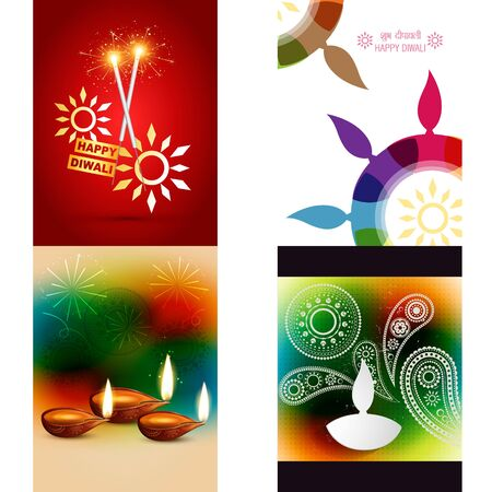 auspicious element: vector collection of different types of diwali background with colorful diya, shubh deepawali (translation: happy diwali)