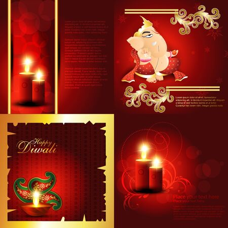 lord ganesha: vector set of hindu festival diwali background with decorated diya, candle with floral and lord ganesha illustration