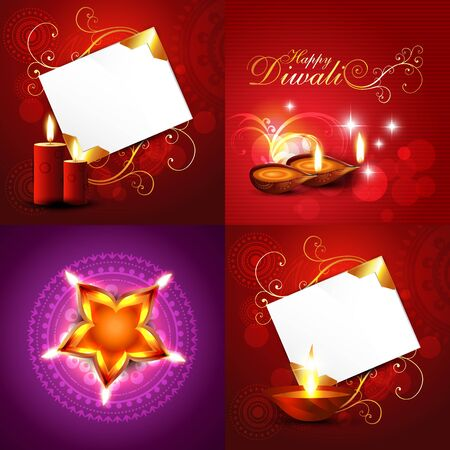 auspicious element: vector set of diwali holiday background illustration with decorated diya, candle, florals and rangoli design