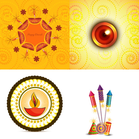 crackers: vector set of diwali background  with crackers and diya illustration