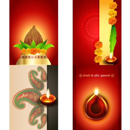 deepawali: vector set of diwali background with beautiful diya, deepawali ki hardik shubkamnaye (translation: happy diwali greetings) Illustration