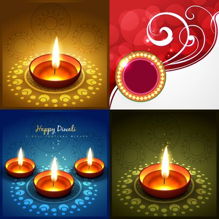 diwali greeting: vector collection of diwali background illustration with decorated diya Illustration