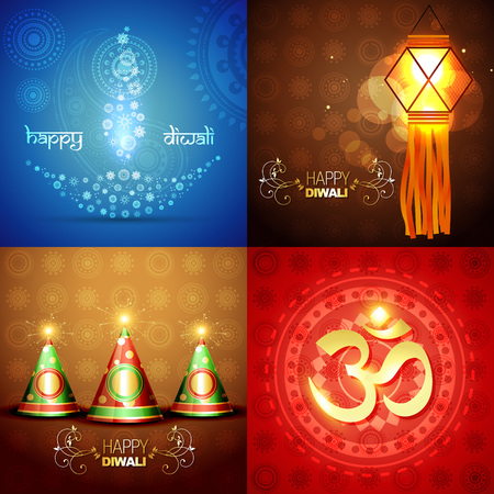 crackers: vector set of diwali background with decorated diya in floral design , crackers and diwali element