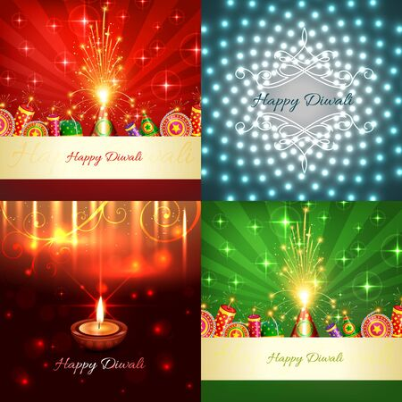 auspicious element: vector collection of diwali background with beautiful diya and crackers illustration
