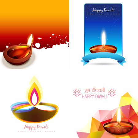 diwali celebration: vector set of diwali background with abstract illustration and shubh deepawali (translation: happy diwali)