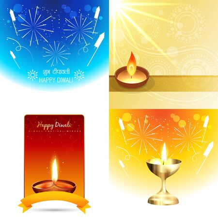 shubh: vector set of colorful background of diwali with shubh deepawali (translation: happy diwali)