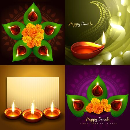 auspicious element: vector set of happy diwali diya background illustration with green leaf and beautiful diya Illustration