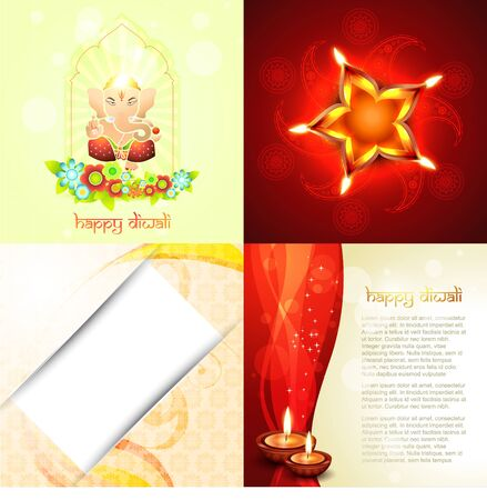 auspicious element: vector ccollection festival of diwali background with lord ganesha ,florals and decorated diya